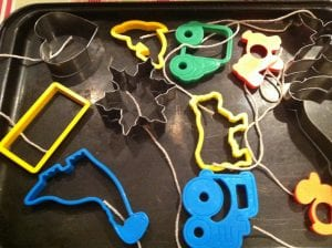 """Using playdoh or biscuit cutters to make icicle shapes"""