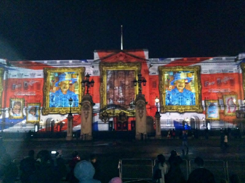 """Face Britain light projections onto Buckingham Palace"""