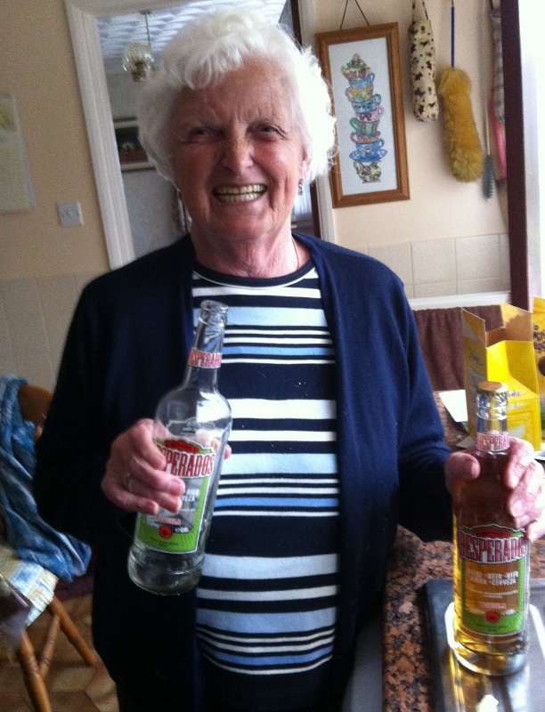 """Grandma on the beers"""