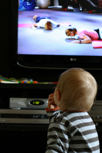 """Baby watching TV"""