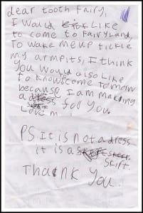 """letter to the tooth fairy"""