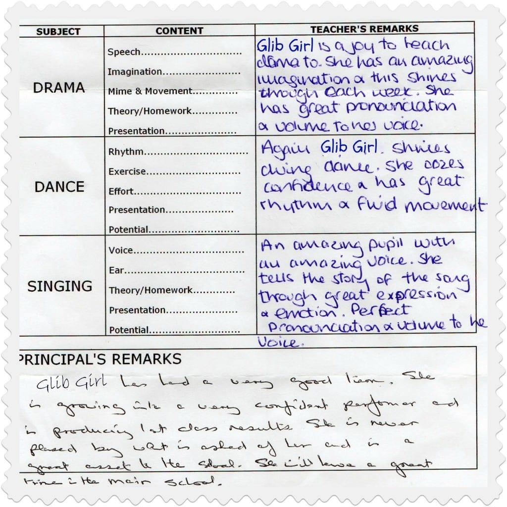 """drama school report"""