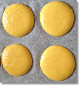Banoffee macarons waiting to go into the oven