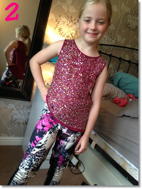 Animal print leggings and glittery top from River Island Girls