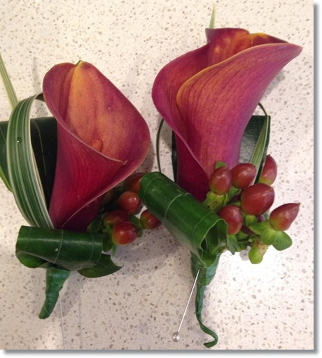 Wedding buttonholes: burnt orange calla lilies and hypericum berries