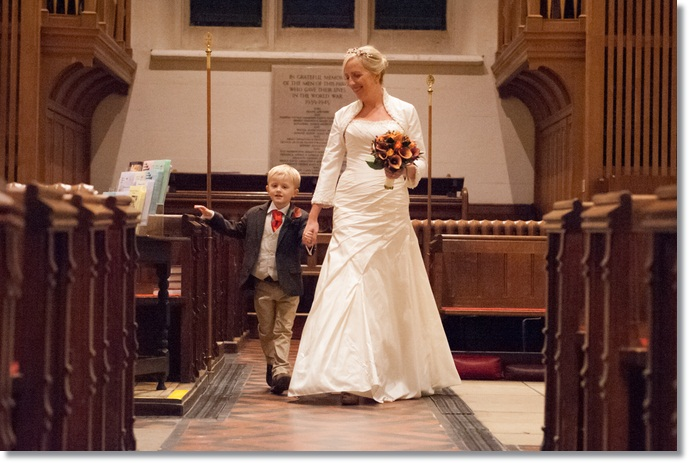 Wedding photos: walking his Mum down the aisle