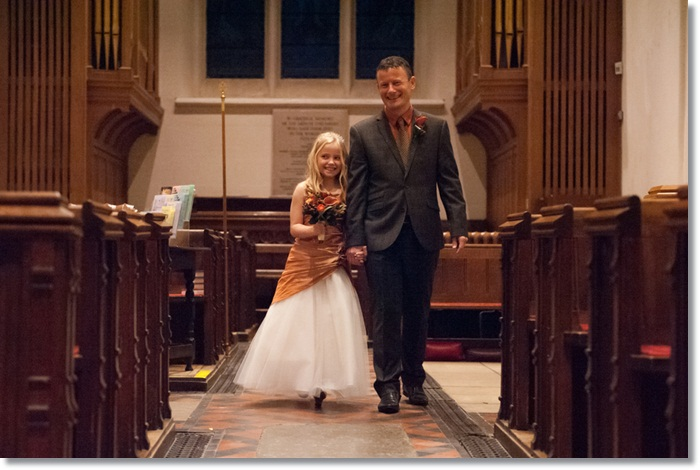 Daddy walked his daughter down the aisle