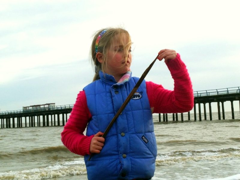 Finding the perfect stick on Felixstowe beach