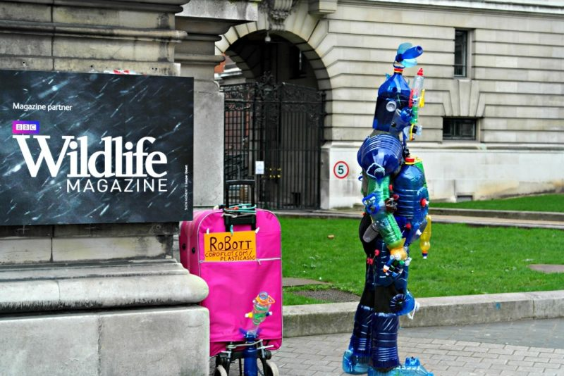 Plastic bottle robot at the science museum