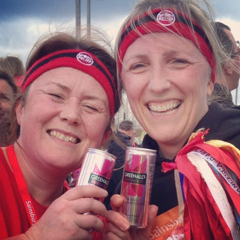 Finishing the Sport Relief 6 miles for #teamhonkrelay with Penny Alexander