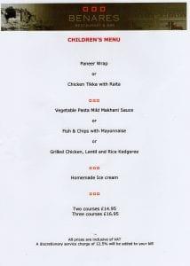 Interesting children's menu at Michelin starred Benares Indian restaurant