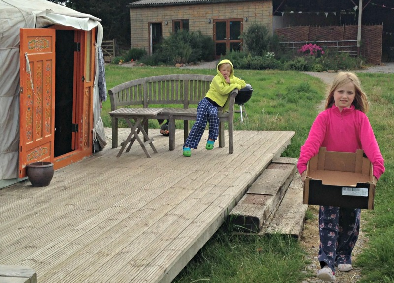Collecting firewood at Somerset Yurts