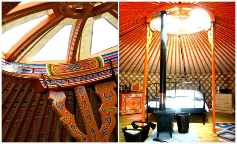 Inside our yurt was bright and cheerful thanks to the traditional mongolian yurt style at Somerset Yurts