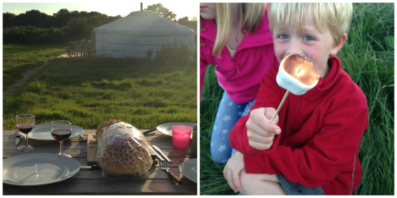 Outdoor dining at Somerset Yurts