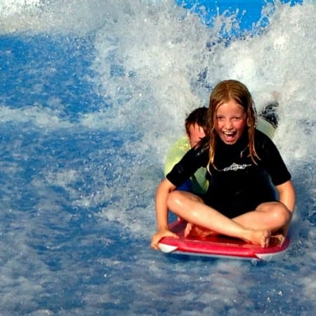 Learning to surf on the Flowrider at Thorpe Park