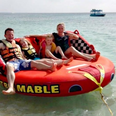 Around Barbados on an inflatable sofa!