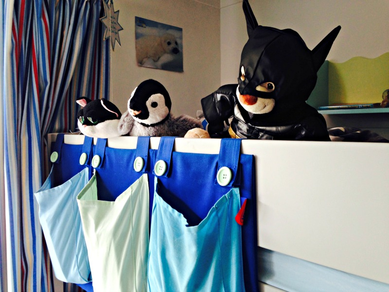 Darth (dressed as Batman), Pengy, and Mogs took prime position on the new bunk bed