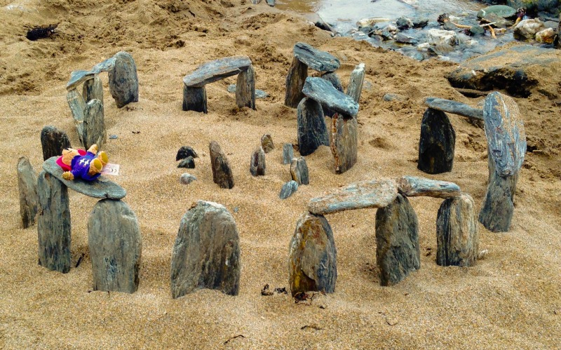 We found a mini-Stonehenge - and a lost bear - on the beach at the wonderful Soar Mill Cove