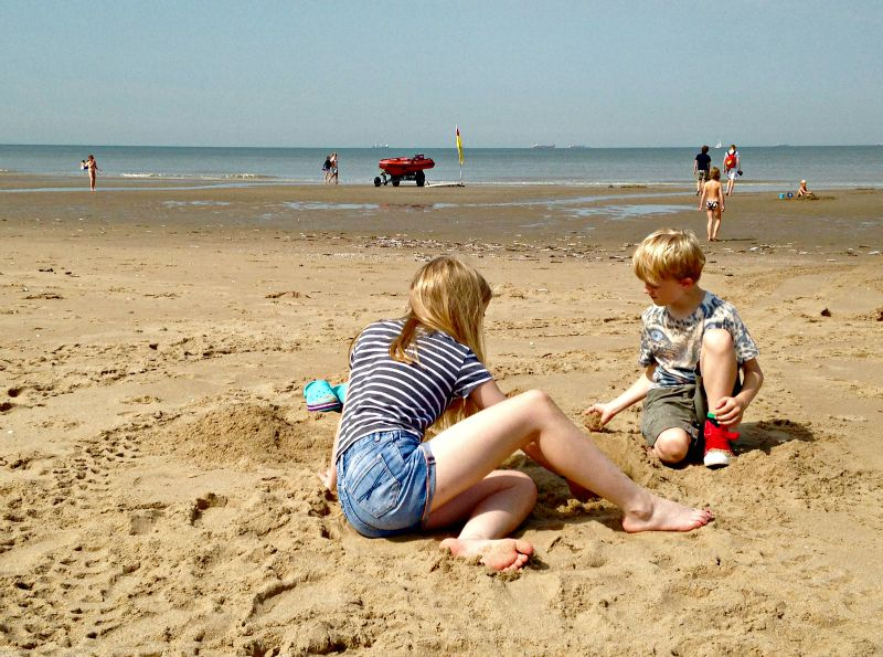 Perfect sand for sandcastles on the beach at Wassenaar, near Duinrell in the Netherlands