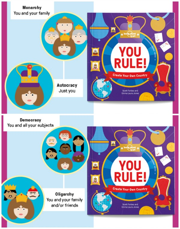 You Rule, from Lonely Planet Kids, helps children understand how countries work. Travel books for kids