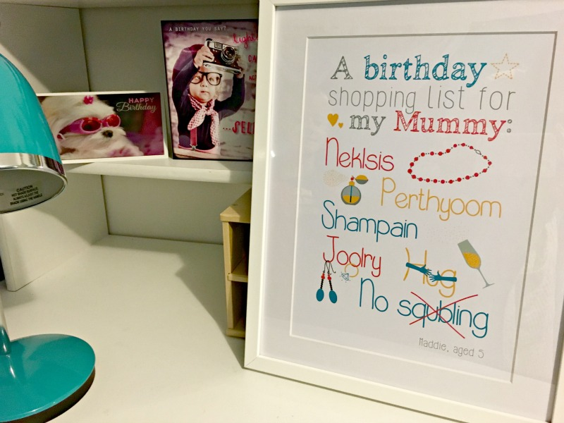 Tween teal room makeover: this personalised framed quote from AlphaBetty Prints keeps memories alive