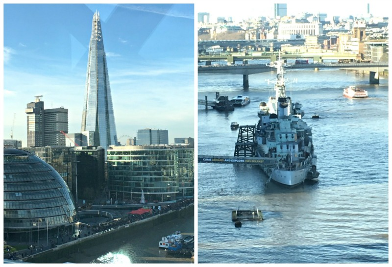 The view from Tower Bridge includes HMS Belfast, and the Shard