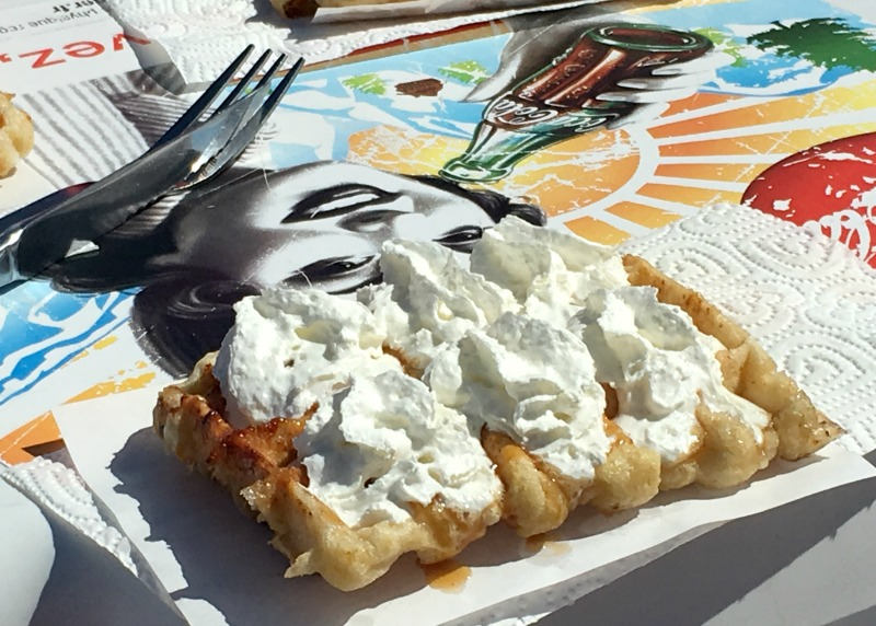 Where to eat in Val Thorens - Les Chalets du Thorens does a great waffle on a sunny deck