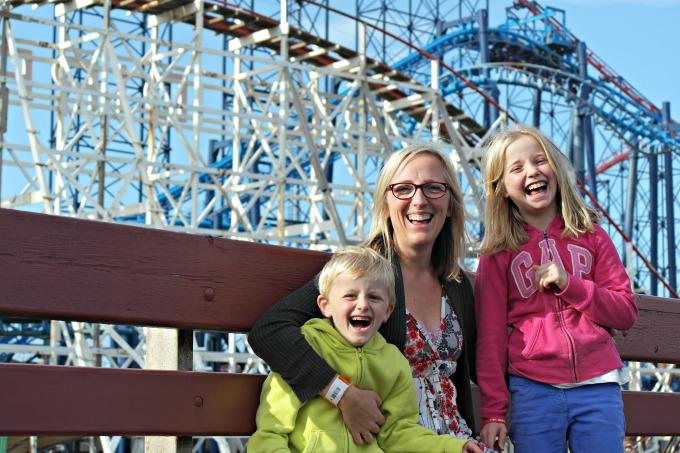 Helen and her kids at Blackpool pleasure beach