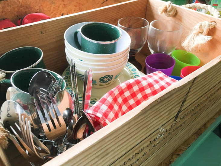 Old Bidlake Farm camping review - all your crockery and cutlery is provided, so you don't have to bring anything!