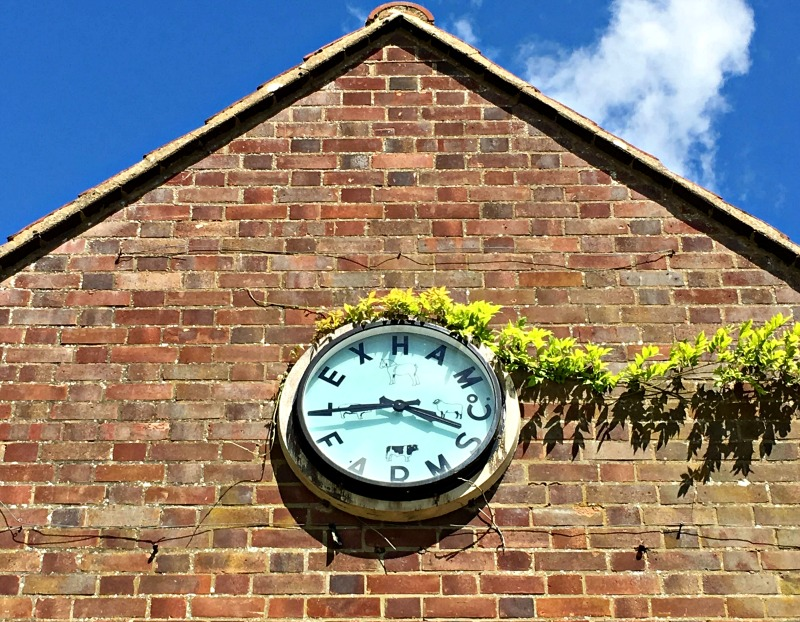 A very cool clock at West Lexham, where you can camp, glamp, or stay in a treehouse or cottage