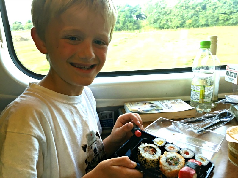 Liverpool Lime Street station has loads of food options. We bought sushi to eat on the train journey home.