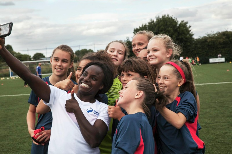 England women's football champion Eni Aluko supports the dads and daughters campaign to grow the sport