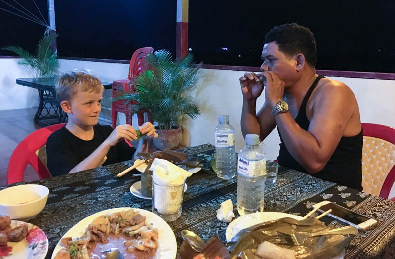Cambodia family holiday highlights - dinner with the locals in Battambang was a huge treat, and really opened up the children's culinary repertoire.