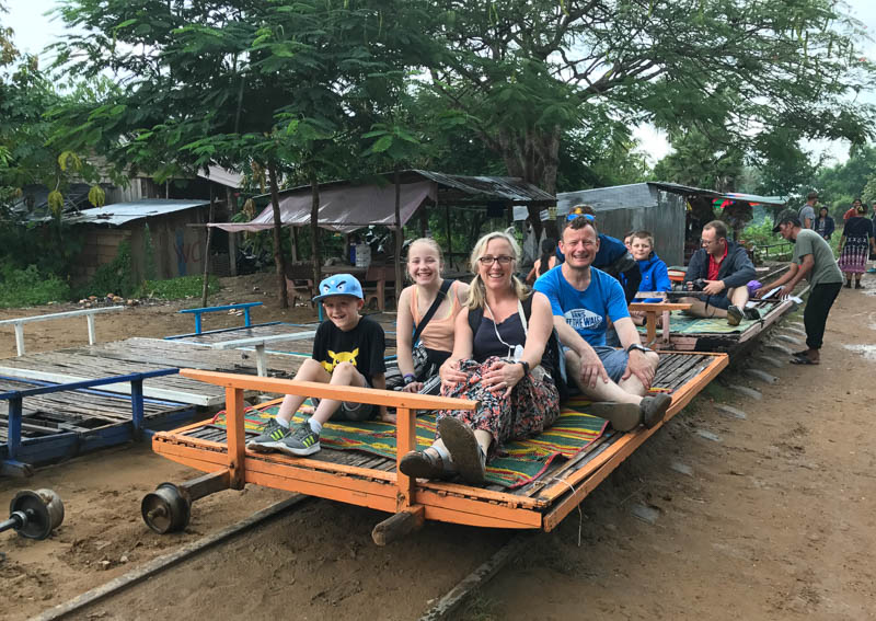 Cambodia family holiday highlights - the Bamboo train in Battambang is so much fun!