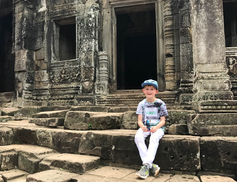 Cambodia family holiday highlights - the many beautiful photo opportunities at Angkorthom temple